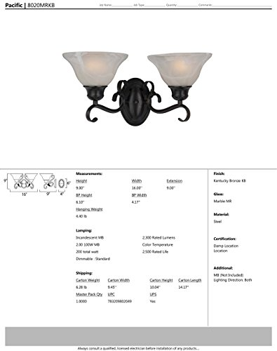 Maxim 8020MRKB Pacific 2-Light Bath Vanity Wall Sconce, Kentucky Bronze Finish, Marble Glass, MB Incandescent Incandescent Bulb , 60W Max., Damp Safety Rating, Standard Dimmable, Hemp String Shade Material, Rated Lumens by Maxim Lighting (Image #1)