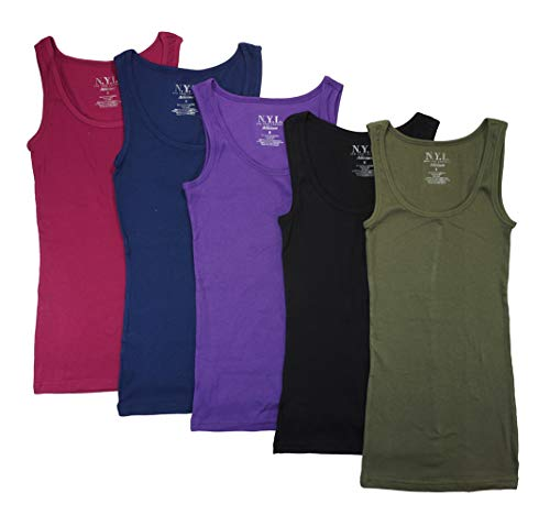 (N.Y.L Women's 5 Pack Ribbed Cotton Tank Tops-Assorted Color (Medium, Assorted Olive))