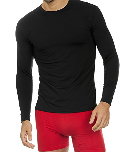 Thermajohn Mens Ultra Soft Thermal Shirt - Compression Baselayer Crew Neck Top - Fleece Lined Long Sleeve Underwear T Shirt (Black, - Underwear Sleeve Tops Long