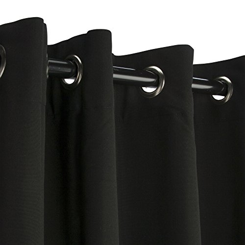 Sunbrella Outdoor Curtain Panel, Nickel Grommet Top, 50 by 120 Inch, Black (Available in Multiple Colors and Sizes) Includes Custom Storage Bag; Perfect For Your Patio, Porch, Gazebo, or Pergola by Sunbrella (Image #2)