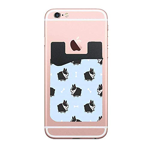 - Cell Phone Card Wallet Lid Pouch, Fat Boston Terrier Dog Walking Cartoon 2Packs Slim Self Adhesive Card Holder Stick on Phone Sleeves for iPhone Samsung and Smartphones