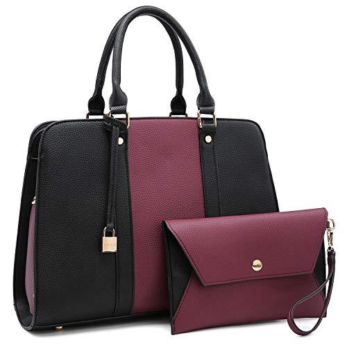 Two Tone Handbag for Women Vegan Leather Purse Stylish Satchel Shoulder Bag with Wristlet(E-7999-PP/BK) ()