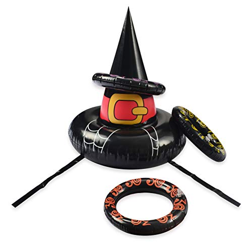(Inflatable Witch Hat Ring Toss Game, Perfect Halloween Games for Halloween Party Favors – One Size Fit All)