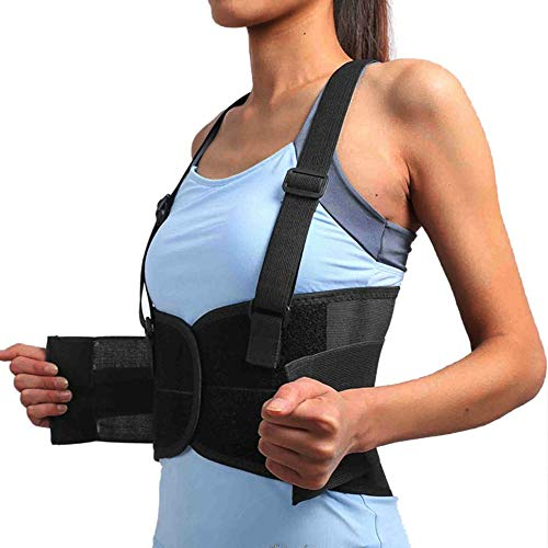 - Back Brace with Suspenders for Men and Women with Removable Adjustable Shoulder Straps Lumbar Support Belt Safty Belt Lower Back Pain Work Lifting Exercise Gym (Black-Upgrade, XXL)