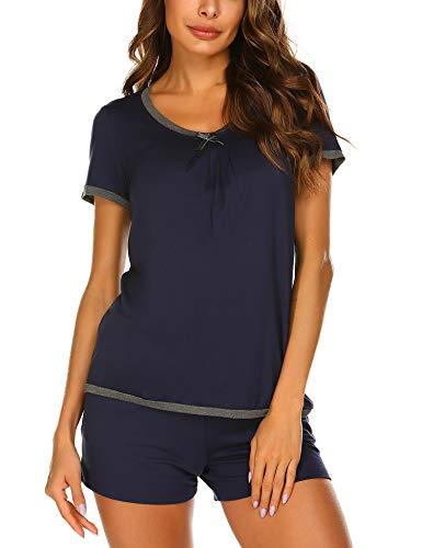 - Ekouaer Women's Round Neck Sleepwear Short Sleeve Nightwear Pajama Set
