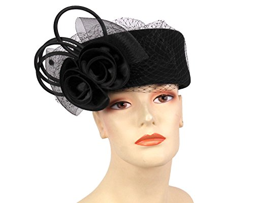 Ms Divine Women's Wool Pillbox Church Hats Dress Formal Hats HL24 (Black)
