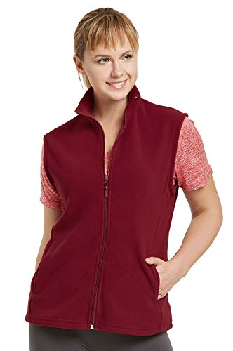 ET TU Women's Zip Up Polar Fleece Vest Plus Size (2XL, Burgundy) - Fleece Zipper Vest