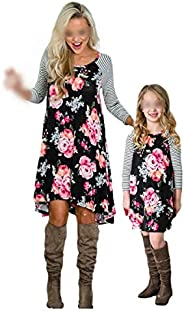 Mommy and Me Dresses Casual Long Sleeve Floral Family Outfits Spring Fall Matching One Piece Short Dress Sundr