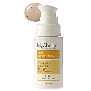 MyChelle Sun Shield Liquid Tint SPF 50 in Nude, Oil-Free Zinc-Oxide Tinted Sunscreen for All Skin Types, 1 fl oz