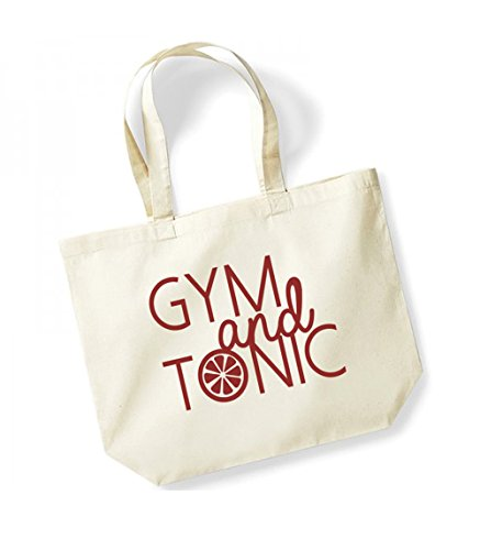 Large Tote Bag Fun and Natural Gym Canvas Tonic Slogan Red PE4YPqZW