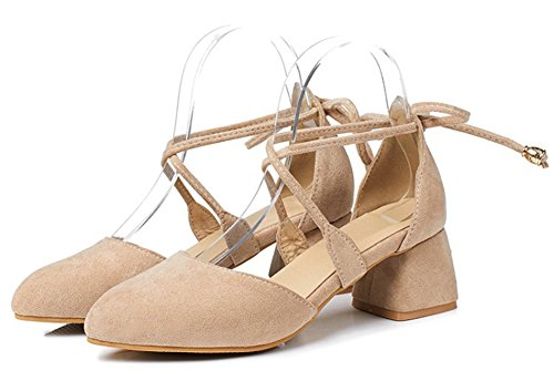 Aisun Femmes Mode Confortable Bout Rond Strappy Gilly Cravate Habillé Chunky Mi-talon Dorsay Sandales Beige