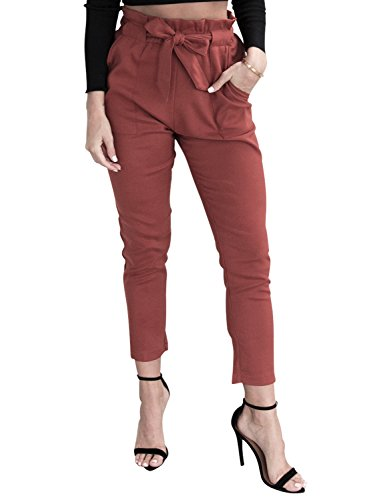 Simplee Apparel Women's Slim Straight Leg Stretch Casual Pants With Pockets Red Slim Stretch Pocket Pant