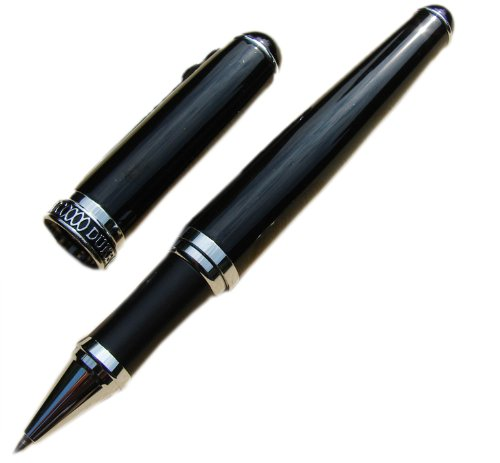 Lanxivi Duke D2 Black Gentleman Roller Ball Pen Chinese Black Lacquer Silver Trim with Pen Pouch