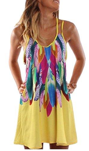 A Summer Strap Women Yellow Pattern Jaycargogo Mini Line Neck Dresses Spaghetti Print Scoop 6A8x5Oq5