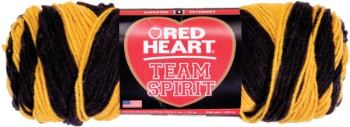 Red Heart Team Spirit Yarn, Gold/Black