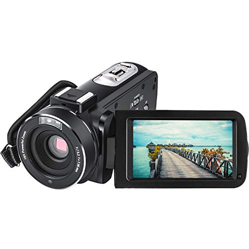 Vlogging Camera for YouTube Video Camera CofunKool Full HD 1080P Camcorder with Remote Control Night Vision, 2 Batteries
