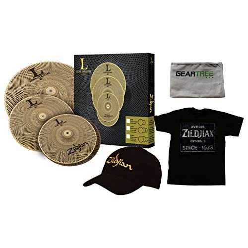 (Zildjian LV348 LOW VOLUME L80 13/14/18 Cymbal BOX SET w/Hat, XL Shirt, and Clot)