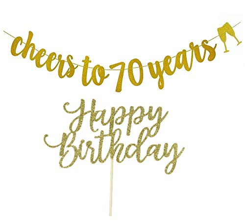 70th Birthday Decorations , Cheers to 70 Years Banner Gold Glitter, with Happy Birthday Cake Topper -