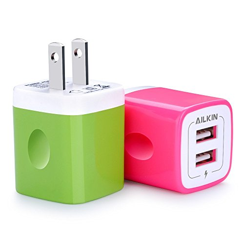 USB Wall Charger, Charger Adapter, Ailkin 2-Pack 2.1Amp Dual Port Quick Charger Plug Cube Replacement for iPhone X/8/7/6S/6S Plus/6 Plus/6/5S/5, Samsung S9/S8/S7/S6/S5 Edge, LG, HTC, Huawei, Moto&more