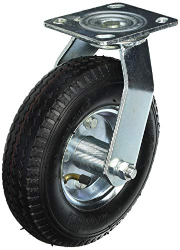 Shepherd Hardware 9794 8-Inch Pneumatic Caster Wheel, Swivel Plate, Steel Hub with Ball Bearings, 5/8-Inch Bore Centered Axle
