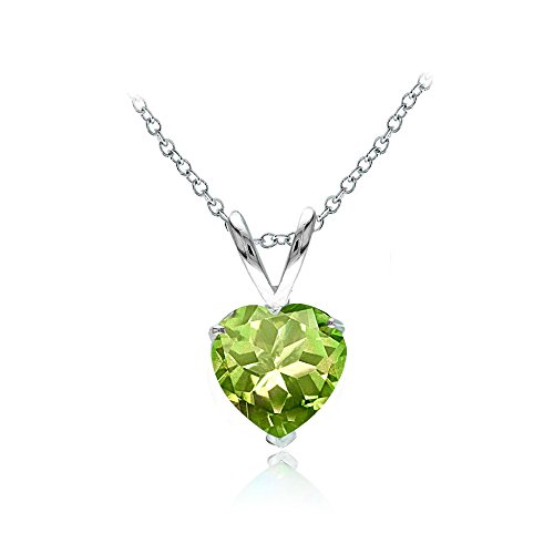 Genuine Peridot Heart Pendant - Ice Gems Sterling Silver Peridot 7mm Heart Solitaire Necklace