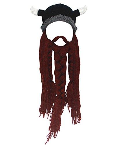 Kafeimali Men's Original Barbarian Pillager Knit Beard Hat Halloween Viking Caps (Brown) -