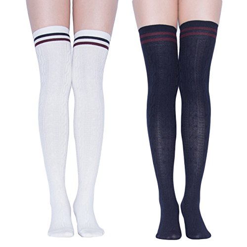 TooPhoto Womens Thigh High Socks Over Knee Stockings Rainbow Stripes Colorful B 2 Pairs-White & Navy ()