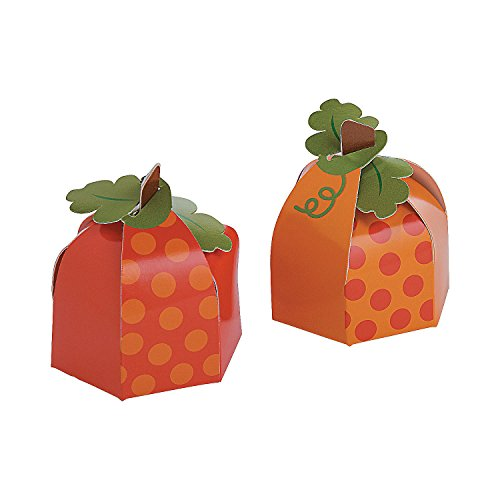 Fun Express Lil Pumpkin Party Favor Boxes | 12-Piece Set | Great for Fall or Thanksgiving Celebration, Halloween Parties -