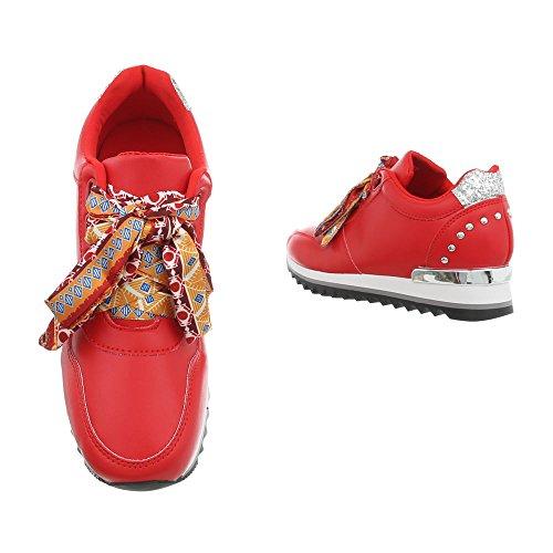 Scarpe 124 design Sneaker High Rosso Donna Da Ital G Sneakers Zeppa 5AqRwU