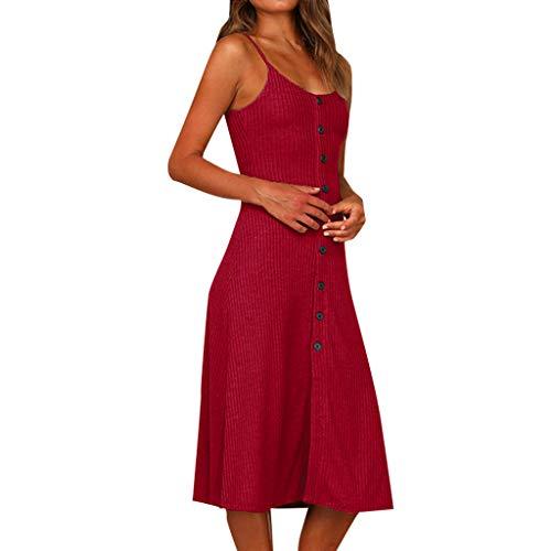 ZSBAYU Women's Maxi Dress Sleeveless Spaghetti Strap Sundress Button Down Swing Midi Dress Casual Knit Dress Party ()