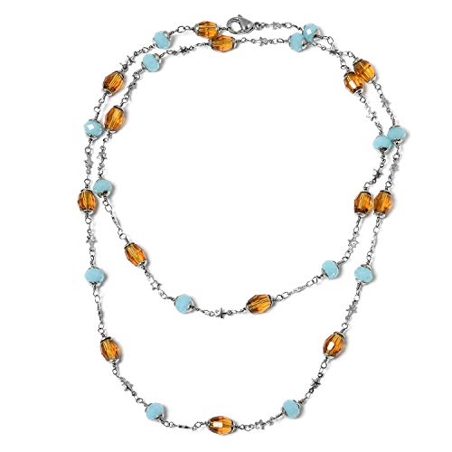 Stainless Steel Beads Blue & Brown Glass Station Strand Necklace for Women Jewelry Gift 36