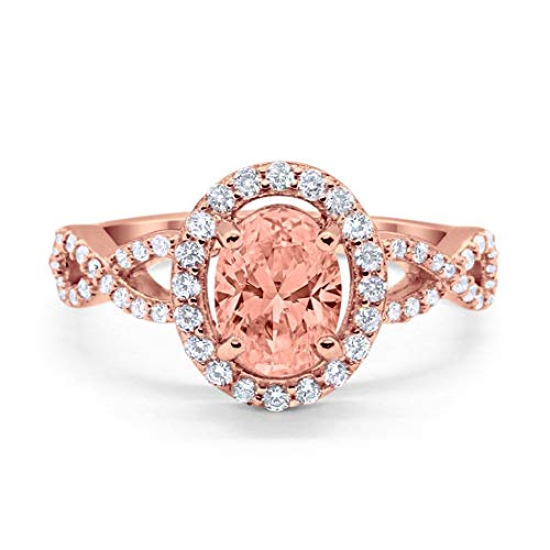 - Blue Apple Co. Infinity Art Deco Halo Wedding Engagement Bridal Ring Oval Simulated Morganite Round Cubic Zirconia Solid Rose Tone 925 Sterling Silver, Size-5
