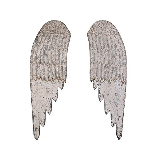Creative Co-op Large Decorative Wood Wall Angel Wings in Distressed Cream