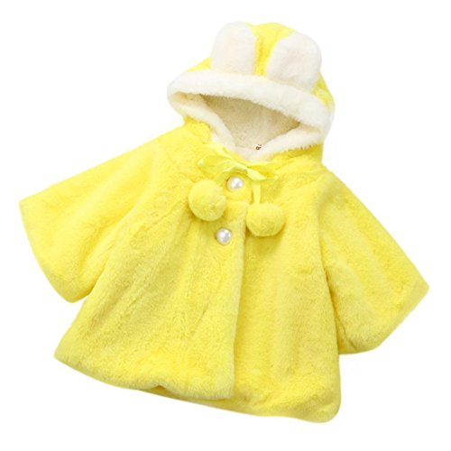 LandFox Baby Girls Hooded Coat Cloak Jacket Thick Warm Clothes (24M, Yellow) (Jacket Airplane Yellow)