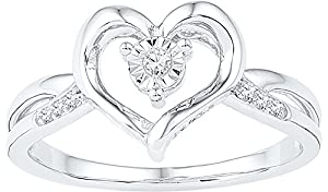 10kt White Gold Womens Round Diamond Solitaire Heart Ring 1/20 Cttw