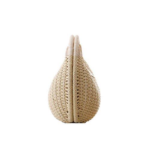 Straw Women woven White Shell Clutch Hand Mogor Bags qvtEn6x11w