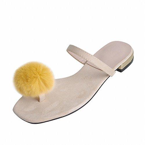 de Salvaje Perezoso Mujer Femenino del de DIDIDD Sandalias Vestir 37 de Pie Albaricoque Zapatillas Moda Dedo 8f5azxw