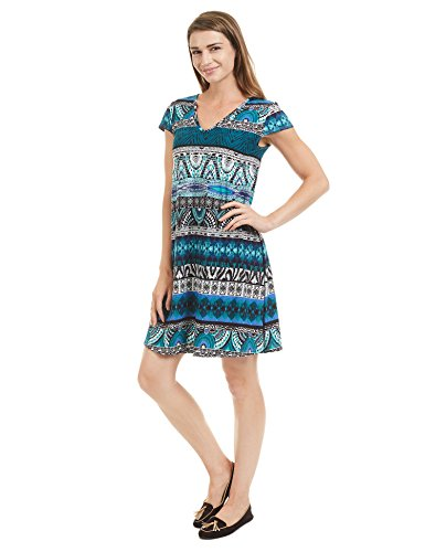 V-neck Cap Print (Made By Johnny MBJ Womens Print V Neck Cap Sleeve Mini Dress S Black_Jade)
