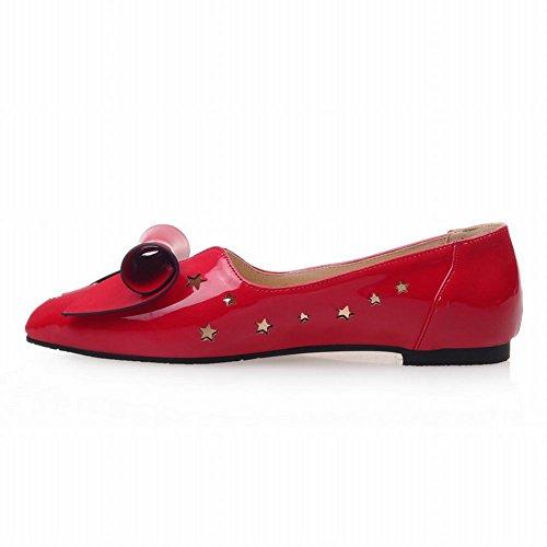 Carolbar Femmes Orteil Pointu Mignon Arcs Doux Chic Élégance Percée Étoile En Forme De Creux Robe Appartements Chaussures Rouges