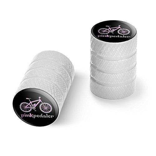 オートバイ自転車バイクタイヤリムホイールアルミバルブステムキャップ - ホワイトピンクペダルマウンテンバイク自転車ロゴ
