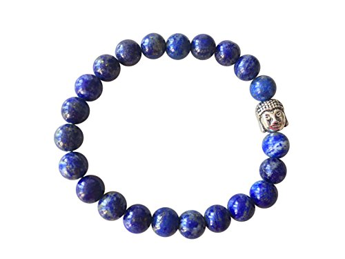 'Magic and Love' Genuine LAPIS LAZULI Gemstone Chakra Bead Buddha Bracelet ~ Natural Stones Ethically Sourced from Western Hills of India ~ Handmade Jewellery in Gift Box … (Buddha Bracelet)