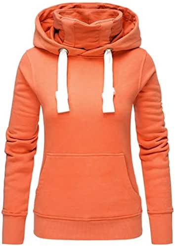 NOMUSING Womens Pullover Sweatshirt with Pockets Ladies Solid Hooded Jumper Turtleneck Long Sleeve Tops Shirt Outerwear
