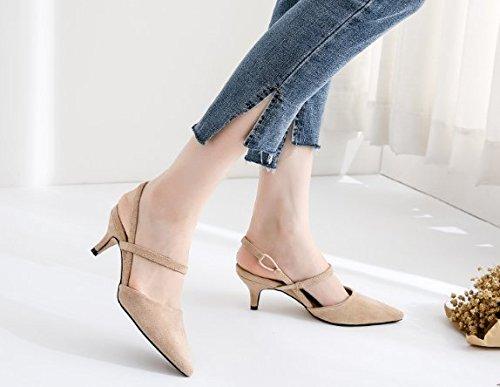 Vacía 5 Sandalias Zapatos 44 Solo los Con Transpirable Moda Después punta albaricoque fina Toda elegante la cm 34 Boca talones superficial una Ajunr correspondencia zapatos 5 Uq6Hftnw