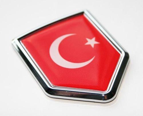 (Turkey Turkish Flag Decal Car Chrome Emblem Sticker 3D)