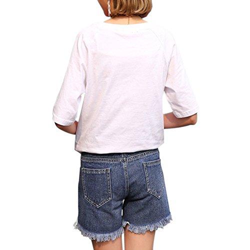 Bleu Jeans de Ceinture Belly Denim Femme Bleu Over Court Enceinte Pantalons Maternit Grossesse Xinvision AwqRO1T