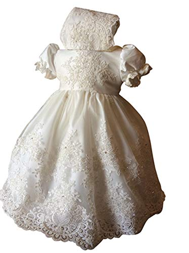 - Faithclover Lace Christening Baptism Gowns Baby Girls Toddler Floral Lace Special Occasions Dresses Bonnet