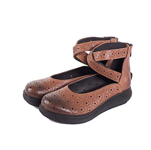 YNXZ-SHOE Sandalias De Mujer Zapatos Planos De Piel De Vaca, Cabeza Redonda Diseño Retro Talón Talón Cremallera Trasera Suela De Goma, Resistente Al Desgaste Resistente Al Deslizamiento, Marrón 35-40 Marrón