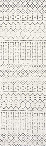 """nuLOOM Moroccan Blythe Runner Rug, 2' 8"""" x 8', Grey/Off-white - Made in Turkey PREMIUM MATERIAL: Crafted of durable synthetic fibers, it has soft texture and is easy to clean SLEEK LOOK: Doesn't obstruct doorways and brings elegance to any space - runner-rugs, entryway-furniture-decor, entryway-laundry-room - 41qJKKIWoML -"""