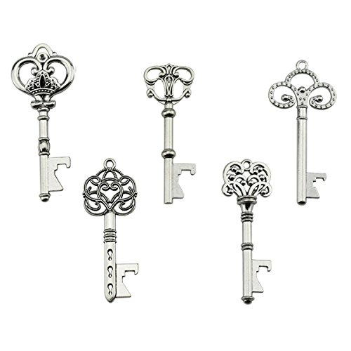 Antique Wedding Favors (Key Bottle Openers - Assorted Vintage Skeleton Keys, Wedding Party Favors Rustic Decoration (Pack of 25, Silver))