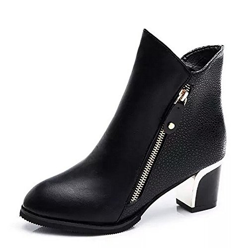 Transer Ladies High Heel Boots, Women Ankle Boots Winter Shoes Black